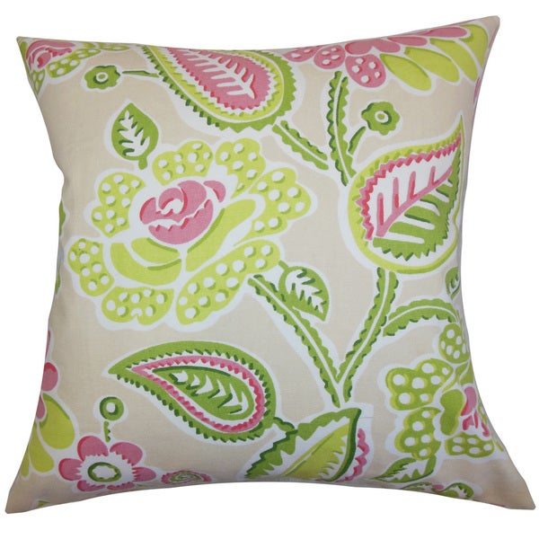 Mare Floral 22-inch Down Feather Throw Pillow Green