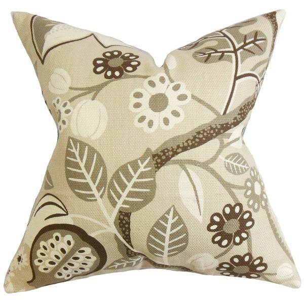 Prys Floral 22-inch Down Feather Throw Pillow Brown