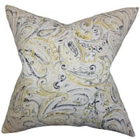 Mirren Paisley 22-inch Down Feather Throw Pillow Gray