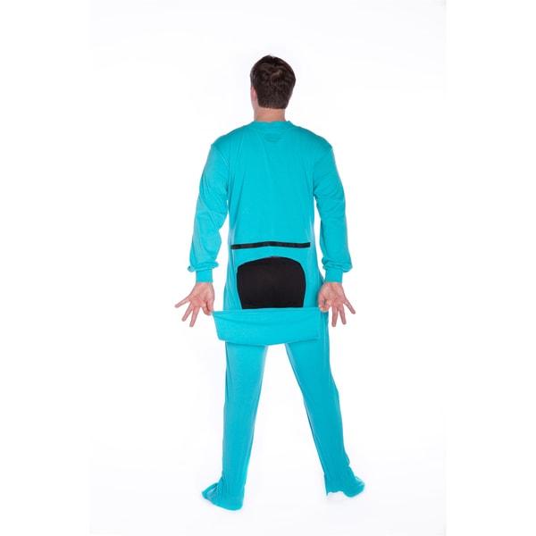 Big Feet PJs Turquoise Jersey Knit Adult Sleeper Footed Pajamas