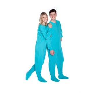 Big Feet Pajamas Unisex Adult One-piece Turquoise Cotton Jersey Knit Footed Pajamas with Drop Seat