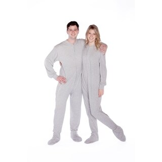 Big Feet Pajamas Unisex Adult Grey Cotton Jersey-knit One-piece Footed Pajamas with Drop Seat