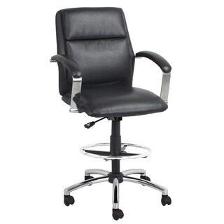 Black Bonded Leather Drafting Stool Chair