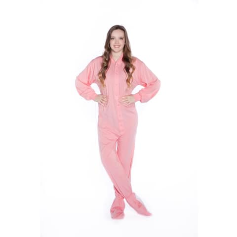 dd9e2b5791e Big Feet PJs Pink Jersey Knit Adult Footie Footed Pajamas with Drop Seat  Sleeper