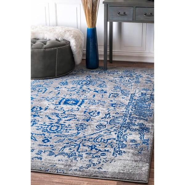nuLOOM Vintage Inspired Oriental Blue Runner Rug - 2'8 x 8'