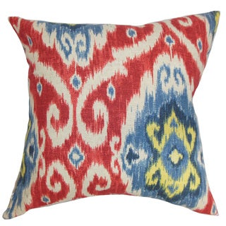Deandre Ikat 22-inch Down Feather Throw Pillow Red Blue