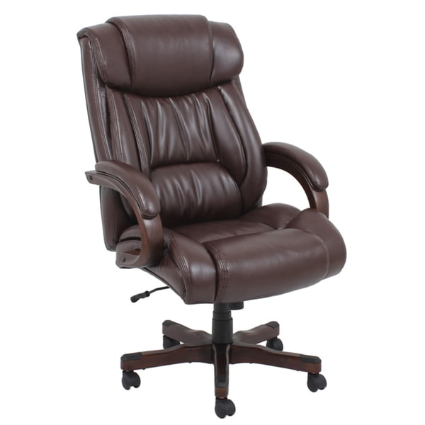 Brown Wood And Bonded Leather Executive Chair