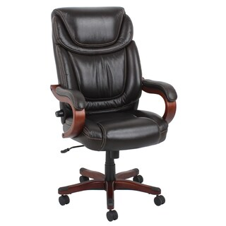 Barcalounger Brown Wood and Bonded Leather Executive Chair