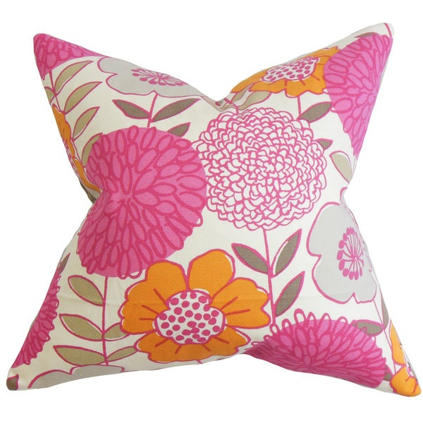 Veruca Floral 22-inch Down Feather Throw Pillow Pink
