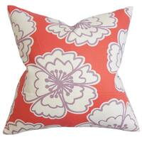 Winslet Floral 22-inch Down Feather Throw Pillow Red