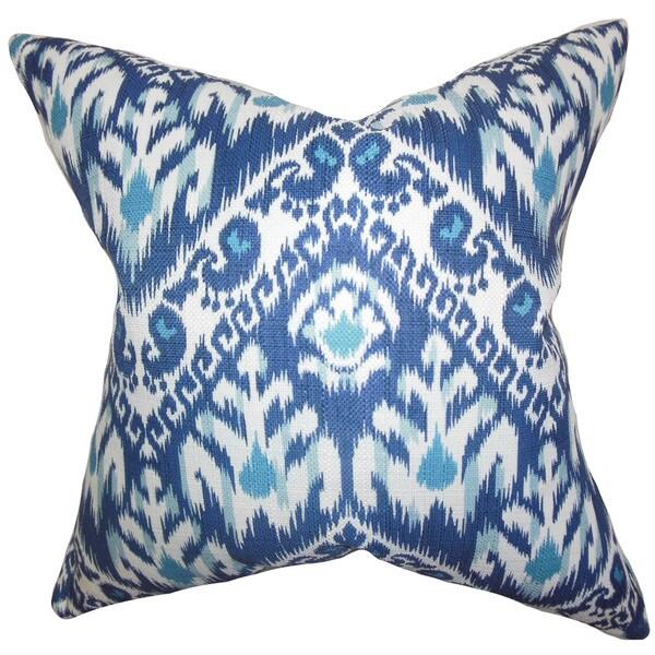 "Rafiq Ikat 22"" x 22"" Down Feather Throw Pillow Blue"