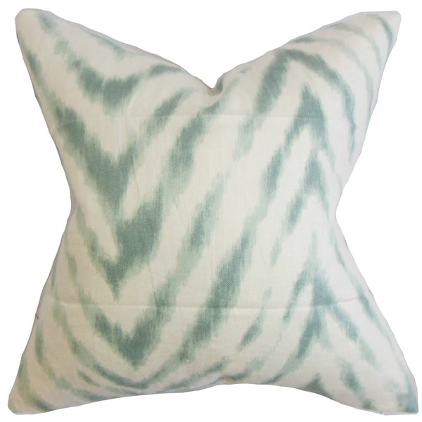 "Quay Zigzag 22"" x 22"" Down Feather Throw Pillow Aqua Blue"