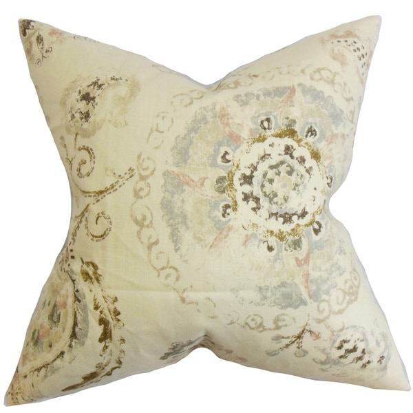Riah Floral 22-inch Down Feather Throw Pillow Brown