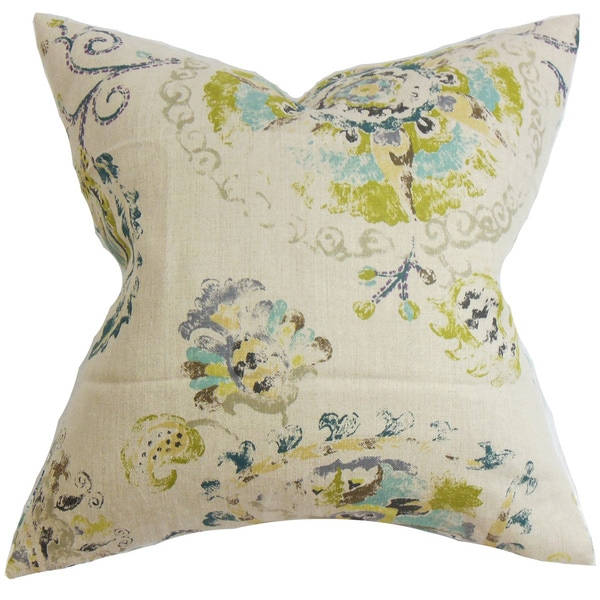 Riah Floral 22-inch Down Feather Throw Pillow Turquoise