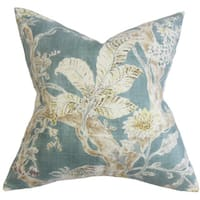 Satriya Floral 22-inch Down Feather Throw Pillow Blue