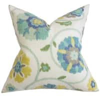 Tarian Floral 22-inch Down Feather Throw Pillow Blue
