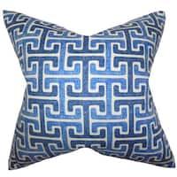 Unai Geometric 22-inch Down Feather Throw Pillow Blue