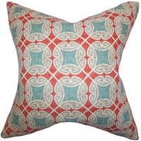 Warren Geometric 22-inch Down Feather Throw Pillow Blue