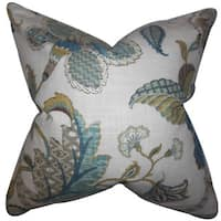 "Juhani Floral 22"" x 22"" Down Feather Throw Pillow Chambray"