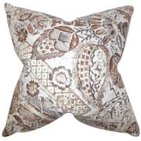 Heidrun Floral 22-inch Down Feather Throw Pillow Brown