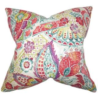 Heidrun Floral 22-inch Down Feather Throw Pillow Jewel