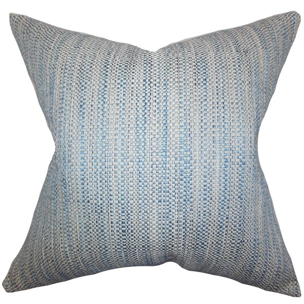 "Zebulun Woven 22"" x 22"" Down Feather Throw Pillow Blue"