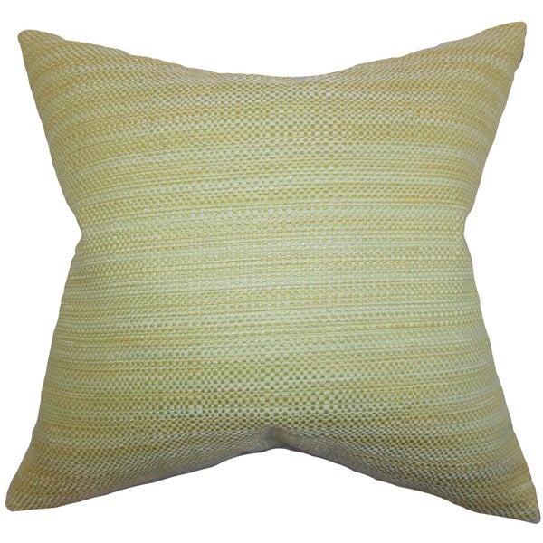 "Zebulun Woven 22"" x 22"" Down Feather Throw Pillow Green"