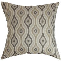 Fillie Ikat 22-inch Down Feather Throw Pillow Gray