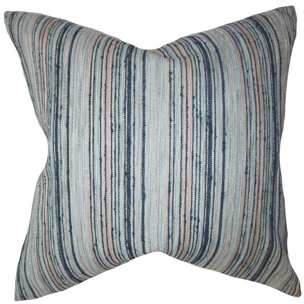 Bartram Stripes 22-inch Down Feather Throw Pillow Blue