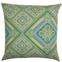 Isaura Geometric 22-inch Down Feather Throw Pillow Green Yellow