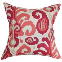 Scebbi Ikat 22-inch Down Feather Throw Pillow Berry