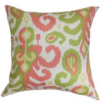 Scebbi Ikat 22-inch Down Feather Throw Pillow Pink Green