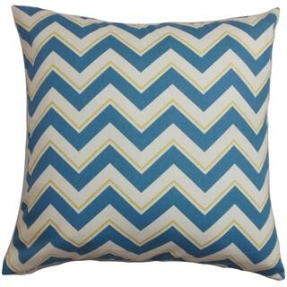 Deion Zigzag 22-inch Down Feather Throw Pillow Blue White