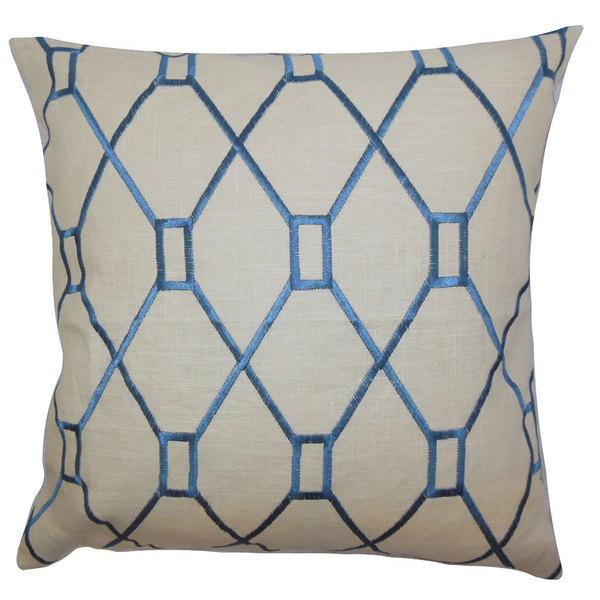 "Nevaeh Geometric 22"" x 22"" Down Feather Throw Pillow Blue"
