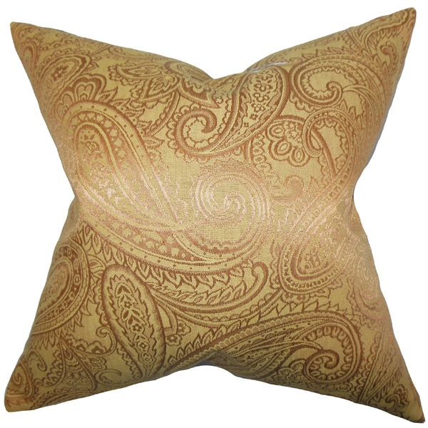 Cashel Paisley 22-inch Down Feather Throw Pillow Yellow