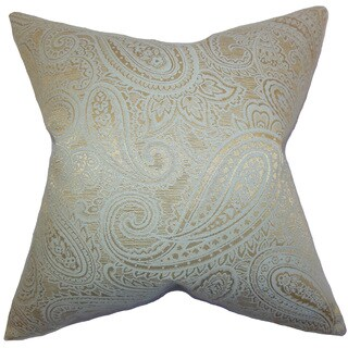 Cashel Paisley 22-inch Down Feather Throw Pillow Seaglass Gold