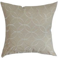 """Dittany Geometric 22"""" x 22"""" Down Feather Throw Pillow Oyster"""