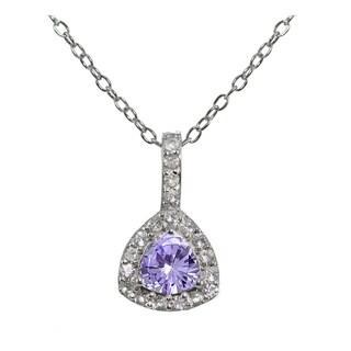 Glitzy Rocks Sterling Silver Gemstone Trillion-Cut Necklace