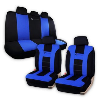 Zone Tech Universal Fit Set of Car Seat Covers Racing Style- Blue/ Black