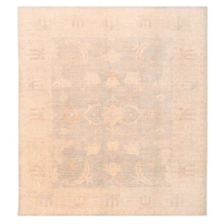 Herat Oriental Afghan Hand-knotted Vegetable Dye White Wash Oushak Wool Rug (8'5 x 9'3)
