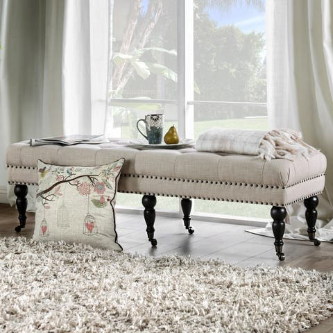 Teregon Contemporary Ivory Tufted Nailhead Trim Accent Bench by FOA