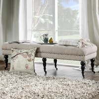 Furniture of America Teregon Contemporary Tufted Nailhead Trim Ivory Linen Accent Bench