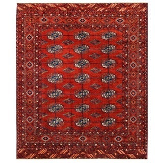 Herat Oriental Afghan Hand-knotted Vegetable Dye Turkoman Wool Rug (8'1 x 9'9)