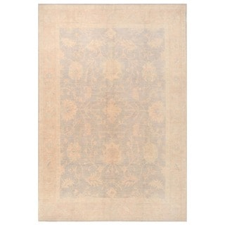 Herat Oriental Afghan Hand-knotted Vegetable Dye White Wash Oushak Wool Rug (8'10 x 12'8)