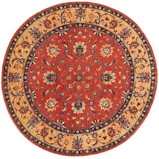 Herat Oriental Afghan Hand-knotted Vegetable Dye Tabriz Round Wool Rug (8'8 x 8'8)