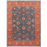 Handmade Herat Oriental Afghan Vegetable Dye Oushak Wool Rug (Afghanistan) - 9'1 x 12'
