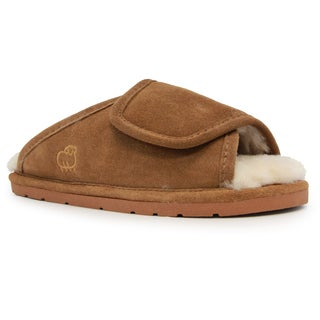 Women's Brown Sheepskin Wrap Slipper with Rubber Sole