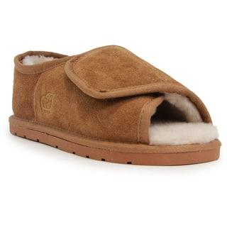 Lady's Brown Suede/Sheepskin Open-toe Wrap Slippers