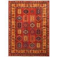 Herat Oriental Afghan Hand-knotted Vegetable Dye Kazak Wool Rug (9'6 x 13'1)