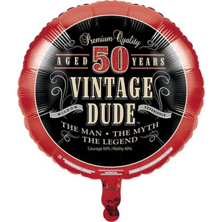 Vintage Dude 50th Metallic Balloons (Pack of 10)